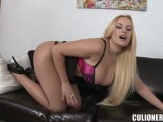Curvy Angel Wicky demonstrates her goods