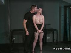 Busty tied up redhead slave vibed bondage vibrator
