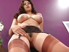 Busty Brunette In Stockings Hot Solo