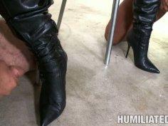 Humiliated Jackie Daniels licks cum off her girlfriend's boots