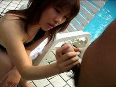 Miu Tsurai blows a dick near the pool