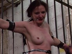 Slave Caroline Pierces frontal whipping and tied