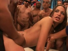 Gang bang is what horny Amber Rayne gets on the bachelor party