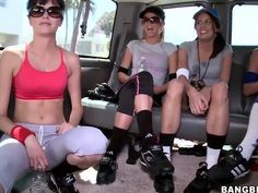These super hot and horny babes enjoy to go for a ride after a training