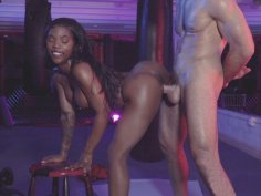 Ebony Sarah Banks gets pussy drilled standing