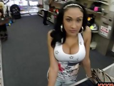 Busty latin chick pawns pussy and railed by pawn keeper