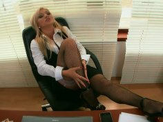 Hot blonde office slut Lea Lexxis sucks black meat pole at work