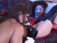 Latex Lesbian Chicks Plays With Dildos