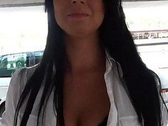 Euro slut flashes her bigtits and fucked for money