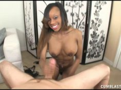 Black Babe Loves Toying With Big White Cocks