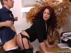 Red haired boss Andy San Dimas rammed hard