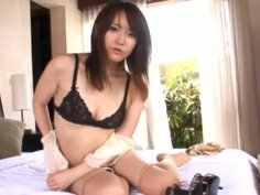 Sexy and horny bitch Yuki Asakura takes off her clothes teasing you